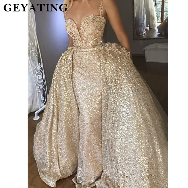 986778842d Spaghetti Straps Muslim Evening Dress 2018 Lace Appliques Detachable  Mermaid Formal Party Gowns Dubai Long Backless Prom Dresses. Previous  Next