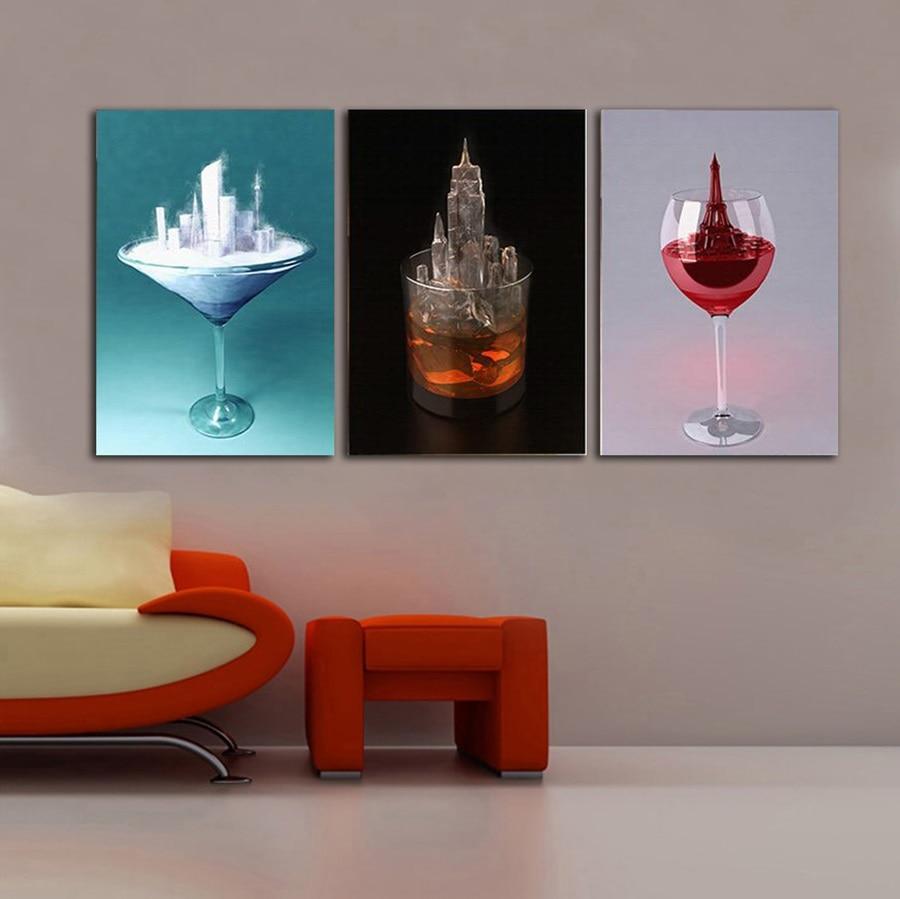 Creative Kitchen Wall Decor: AtFipan Nordic Creative Wine Glass Restaurant Kitchen Wall Art Picture Unframed Modular Canvas