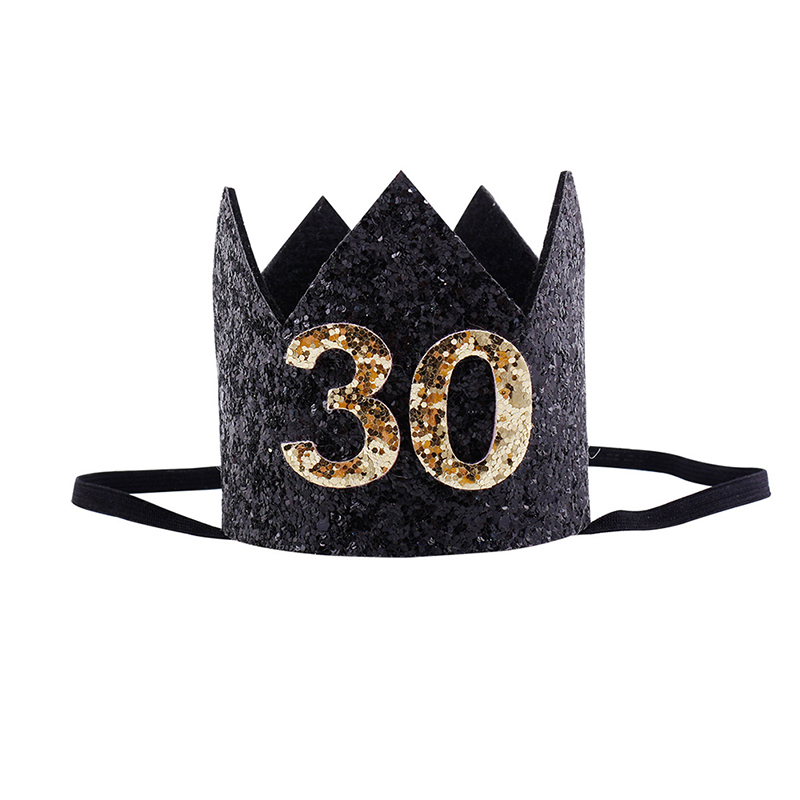2018 30th Birthday Hat Gold Pink Priness Crown Hats Number 30 Year Old Party Glitter Headband Supplies In From Home Garden