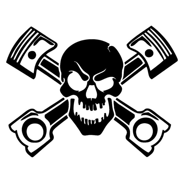 Piston Skull Sticker Vinyl Decal Car Window Cross Bones Jolly Pirate