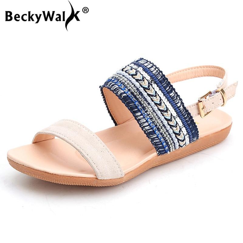 Beckywalk Frauen Sandalen Sommer Frauen Schuhe Mode Roma Strand Schuhe Frau Böhmischen Stil Damen Flache Sandalia Feminina Wsh2809 Elegante Form Schuhe
