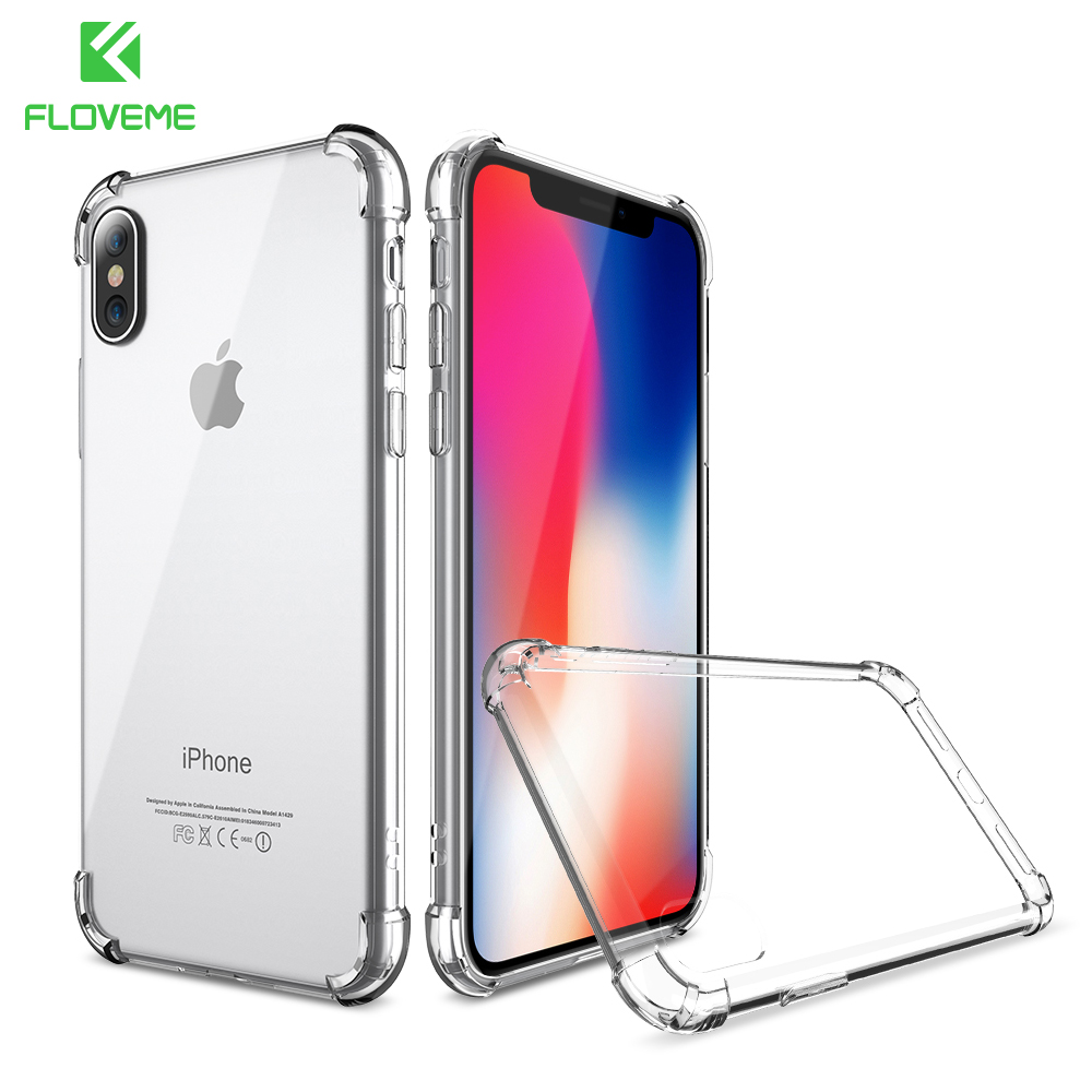 FLOVEME For iPhone X 2017 New Luxury Case ,  Transparent Clear Cover For iPhone 8 iPhone 6 6S Plus 7 Plus Case Anti-knock Fundas