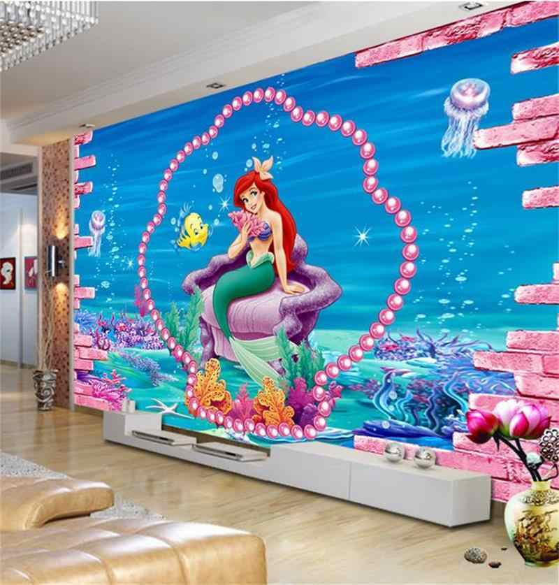 kids room 3d photo wallpaper custom size murals non-woven sticker mermaid sea sofa TV background picture 3d wall mural wallpaper