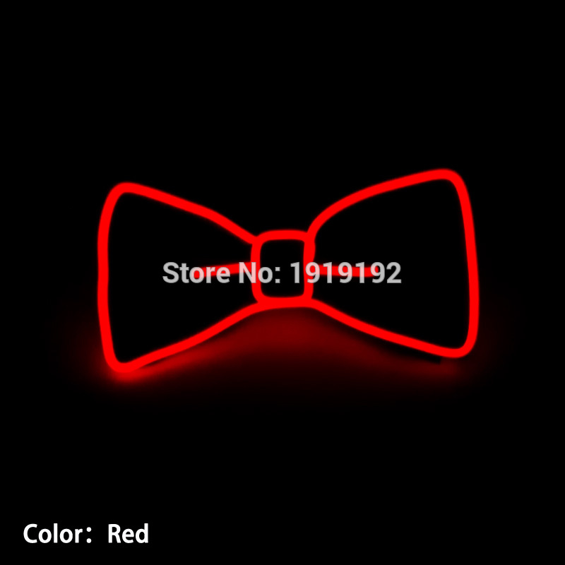 2017 New Design Light 10 Color Select Fashion Light Up LED Bow Tie glowing EL wire Bow Tie For Evening Party,DJ,bar,club or Show