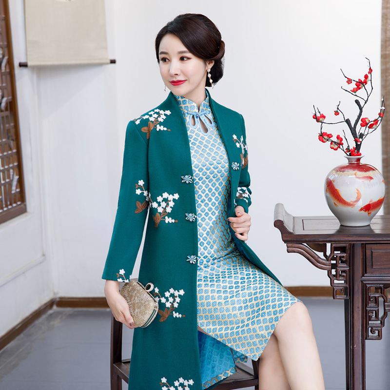 Femmes Mince Dames Ensembles Pc Ciel Longueur Robes Cheongsam Mandarin 2018 Partie Hiver Chinois Genou Robe Style Col Qipao rouge Pu 2 xnZfO