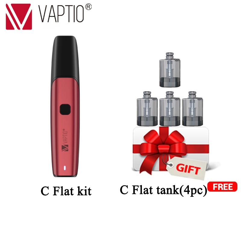 Electronic Cigarette Original Vaptio C-Flat 15W VAPE KIT 1.5ml atomizer Over vaping Protection 350mah battery 1.0ohm ecig kit