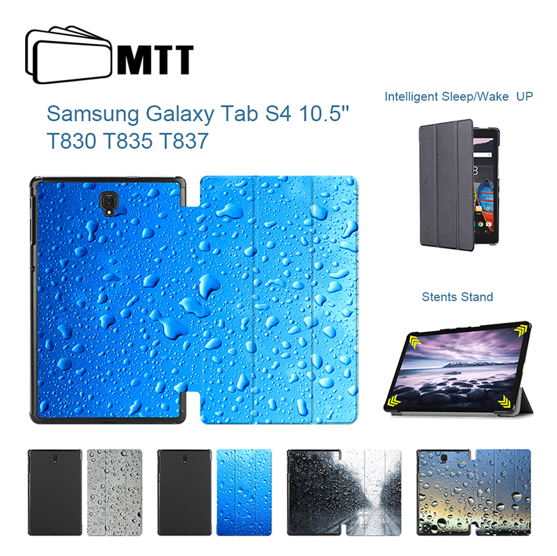 Raindrop Printed Leather Flip Stand Case for Samsung Galaxy Tab S4 10.5 inch T830 T835 Case Tablet Samrt Protective Skin Cover creeper bl q001 convenient outdoor self inflation dampproof dacron air cushion mat camouflage