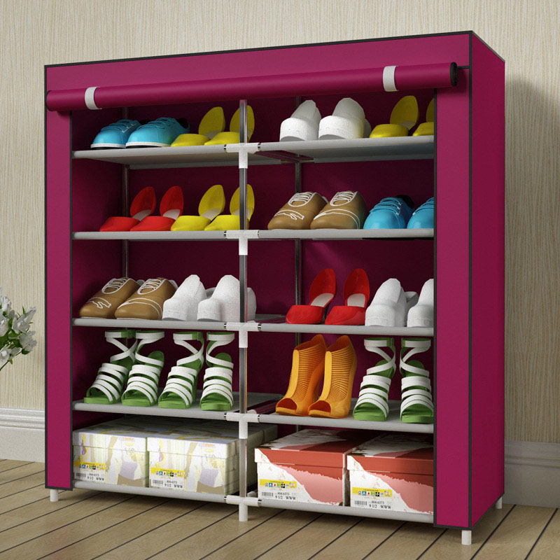 High-capacity double-row 10 shoe shoe thick stainless steel non-woven shoe rack can be freely assembled home furniture 4 layers of simple dust proof moisture proof shoe rack thick non woven stainless steel shoe free assembly of home furniture