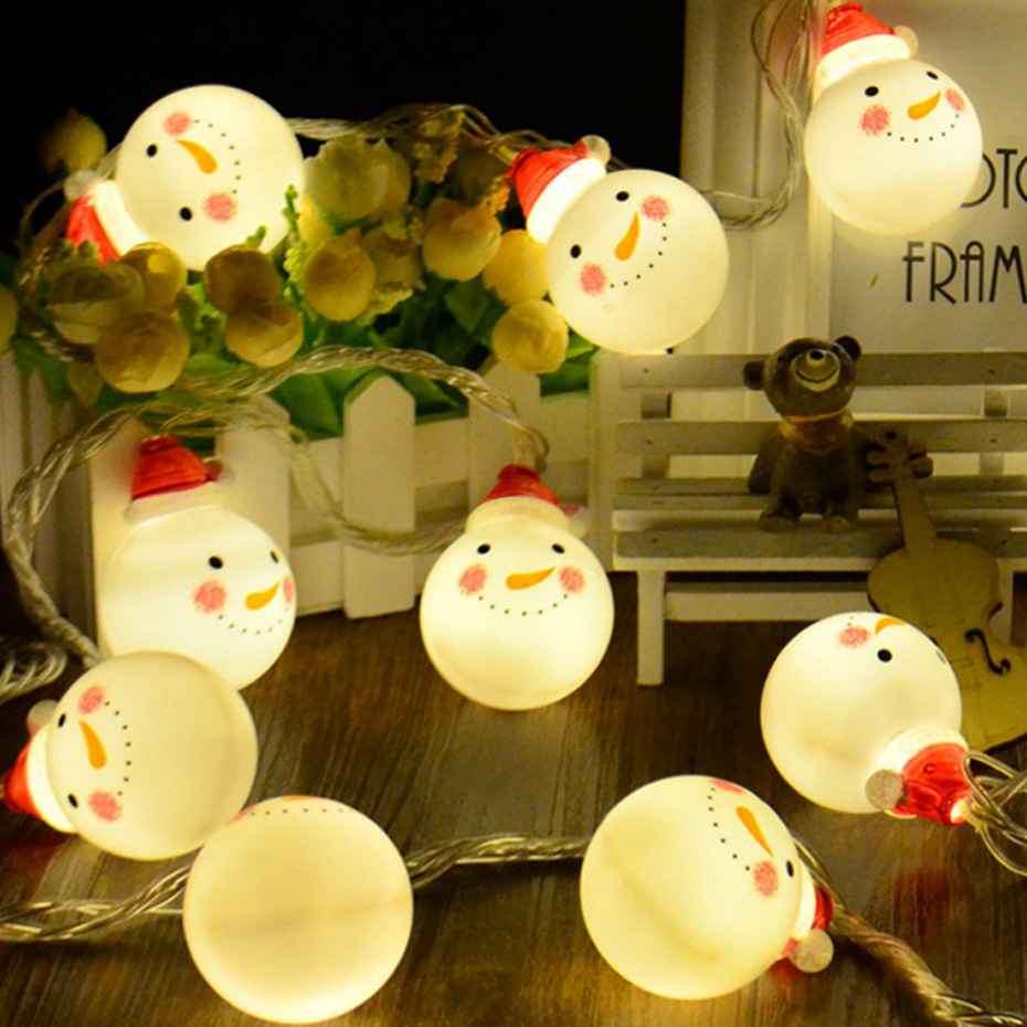 YINGTOUMANT Christmas Santa Lamp Plugs LED String Light Christmas Holiday Wedding Party Festival Decoration Lighting 5m 30LED