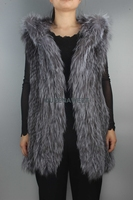 Long Silver Fox Fur Vest With Fur Hood Real knit Fur Sleeveless OverCoat Women Outerwear Winter Warm