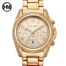 2019 New Women WristWatches Luxury Business Inlaid Rhinestone Watch For Women Fashion Rose Gold Steel Belt Calendar Quartz Watch
