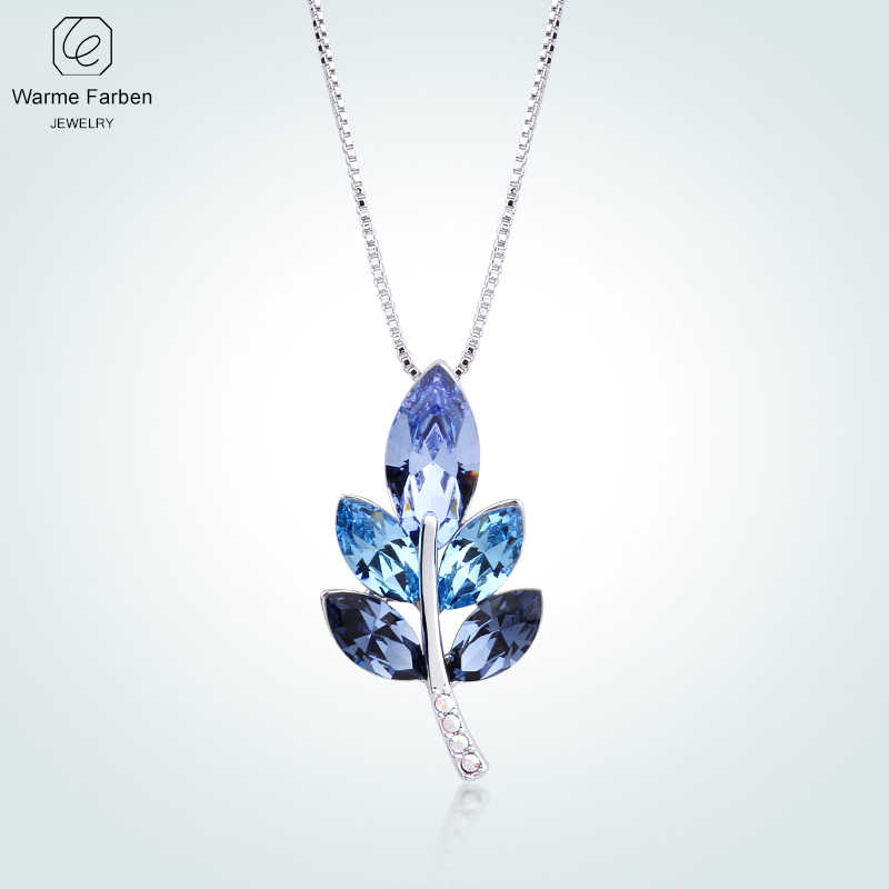 WARME FARBEN Crystal Women Necklace Leave Shape Blue Crystal Pendant Necklace Collares Fine Jewelry Gift For Lady