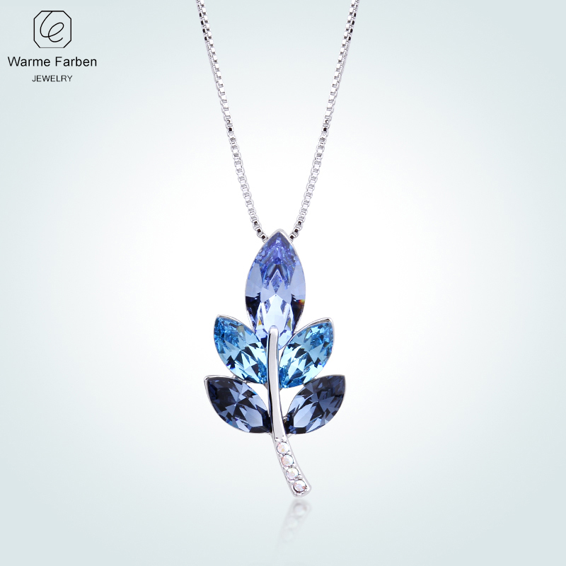 цена на WARME FARBEN Crystal from Swarovski Women Necklace Leave Shape Blue Crystal Pendant Necklace Collares Fine Jewelry Gift For Lady