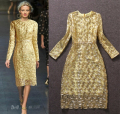 High Quality 2016 Europe New Fashion Gold Thread Paillette Beaded Mesh Dress Long Sleeve Gold Blue Women Dresses Free Shipping