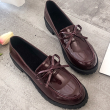 Moxxy  2018 Autumn New Women Oxfords British Platform Flats Spring Round Toe Slip-on Casual Shoes Woman PU Patent Leather