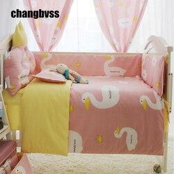Cartoon duże biały puch gęsi druku zestaw z łóżkiem dla dzieci  księżniczka dziewczyna różowy łóżeczko dla dziecka zderzak  noworodka zestaw pościeli do kołyski dziecięcej  kołdra dla dzieci pocieszyciel