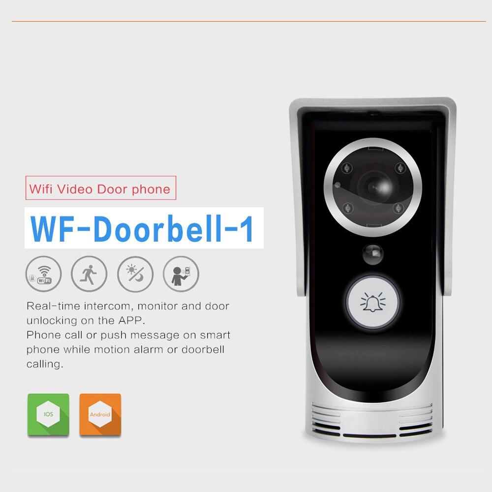 Free shipping Wireless WIFI Doorbell Support IOS Andriod APPs control Video door phone IR cut night version Door intercom