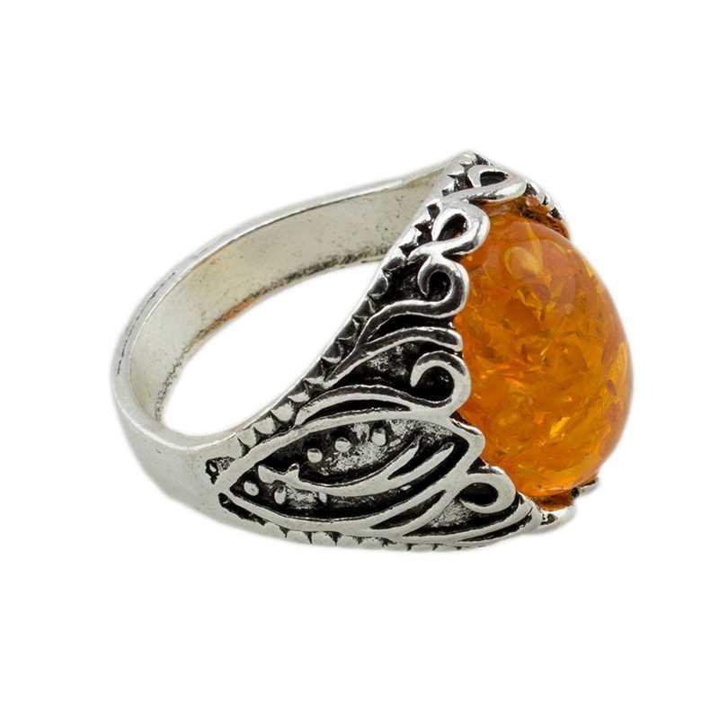 Bohemian Vintage สีเหลืองหินแหวน Anel Boho หมั้นแหวนผู้ชายเครื่องประดับ