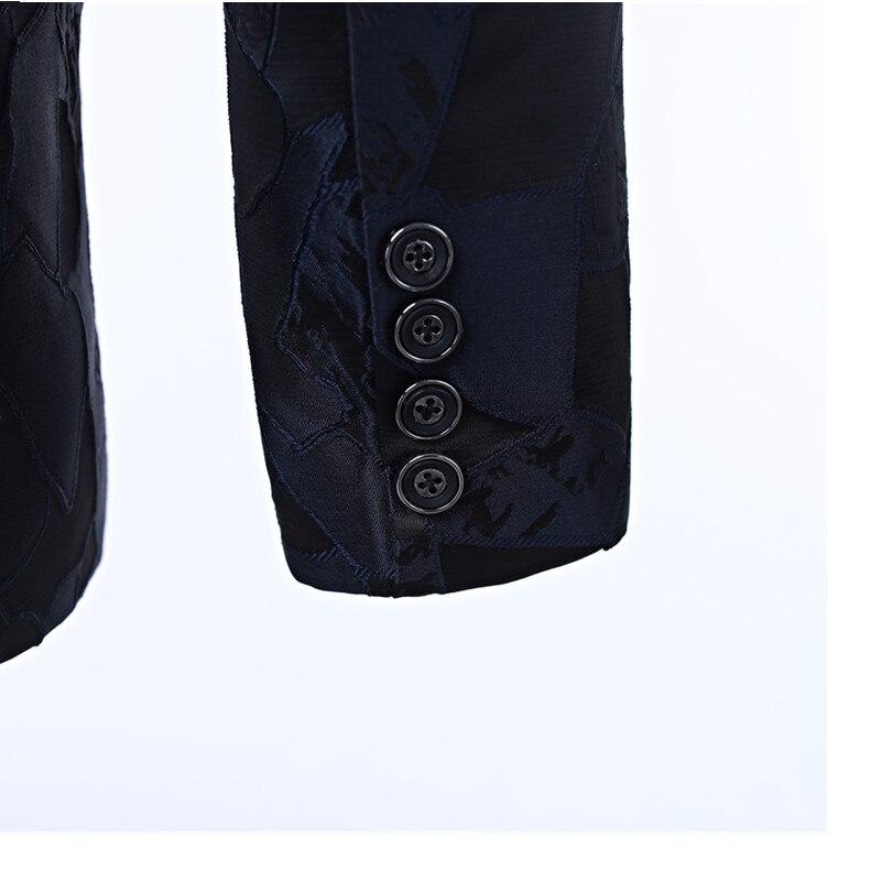 New men's dress suit jacket Navy pattern men's jacket cut lapel One button's grace banquet formal men's jacket suit custom - 4