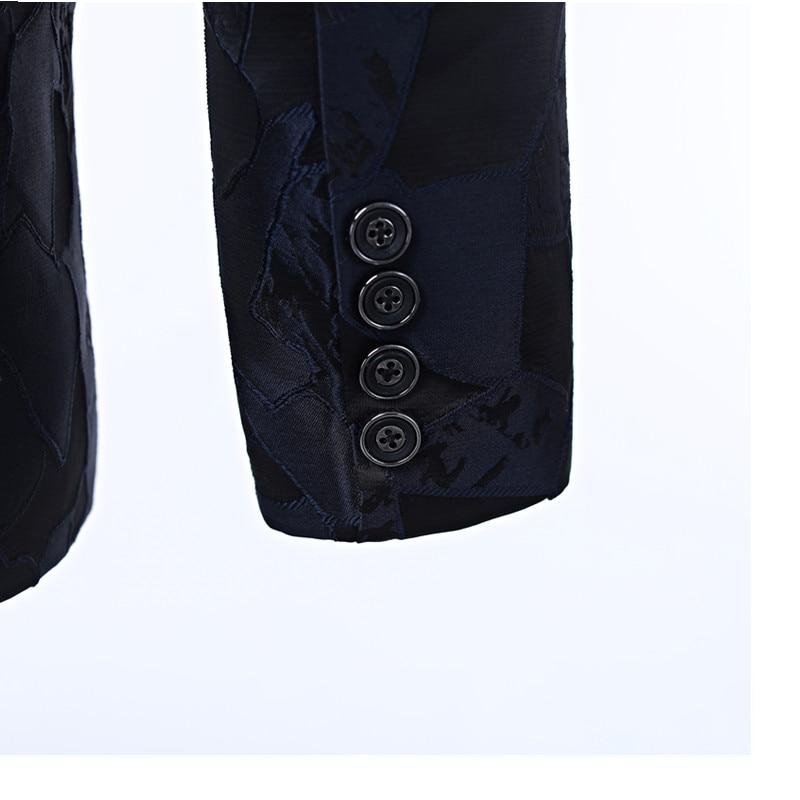 Nieuwe mannen jurk pak jas Marine patroon heren jas cut revers Een knop's grace banket formele mannen's jacket suit custom - 4