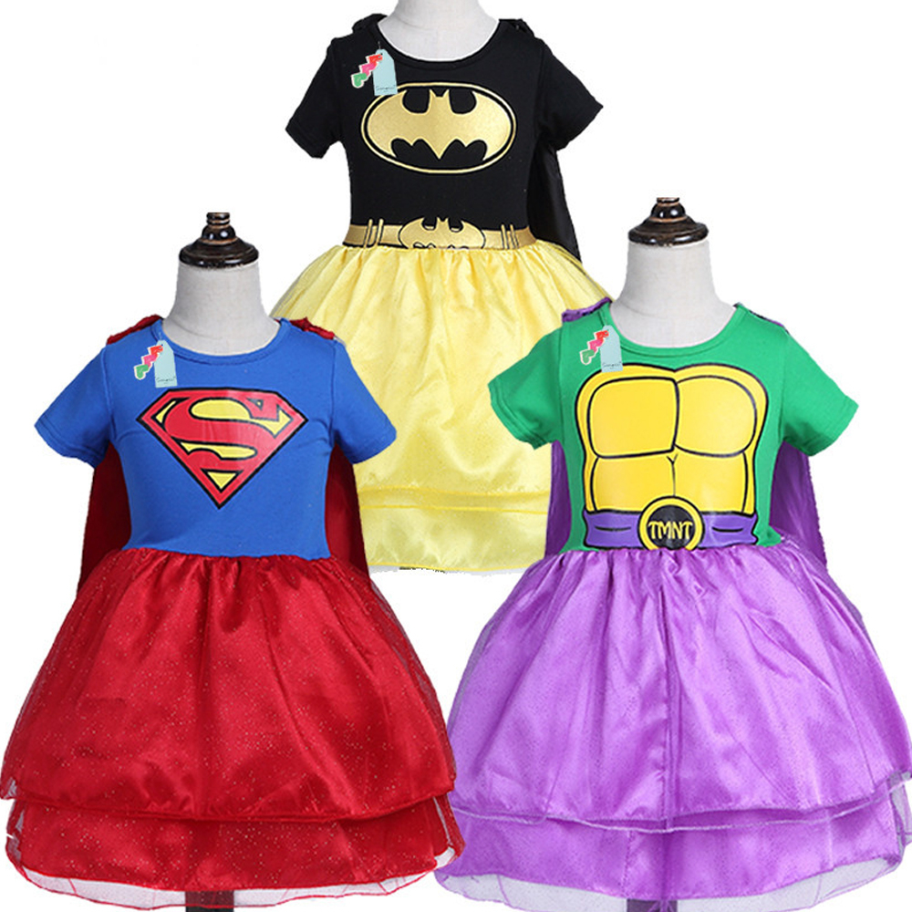 Design Girl Hulk Superman Batman Dress for Girls Carnival Christmas Costumes Kids Hero Cosplay Princess New Years