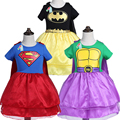New Design Girl Hulk Superman Batman Dress for Girls Carnival Christmas Costumes for Kids Hero Cosplay Princess Dress New Years