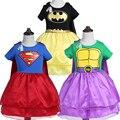 Nuevo diseño de la muchacha superman hulk batman vestido para las niñas de navidad carnaval disfraces para niños hero cosplay princesa vestido de año nuevo