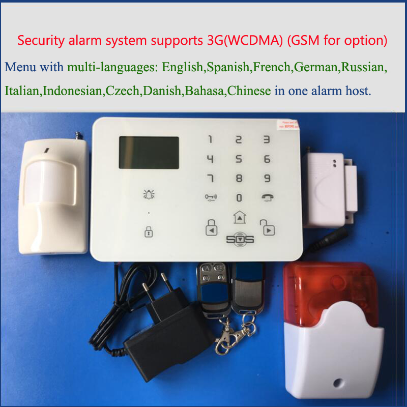 good quality 3G Alarm system with operation menu in multi-languages, APP WCDMA security system with wireless strobe siren good quality sms gsm security alarm with voice in 7 languages touch keypad app controlled burglar alarm system with new sensor