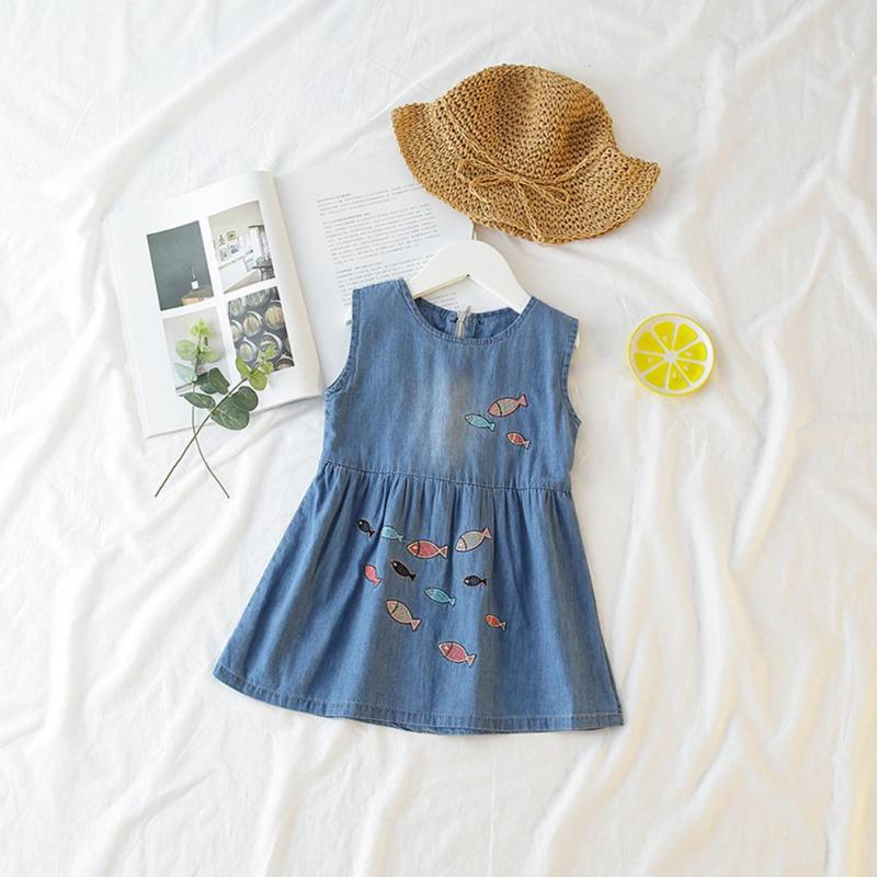 2018 1-6Y Fashion Baby Girl Denim A-Line Dresses Summer Kids Fish Embroidery Beach Denim Dress Clothes bebe sundress