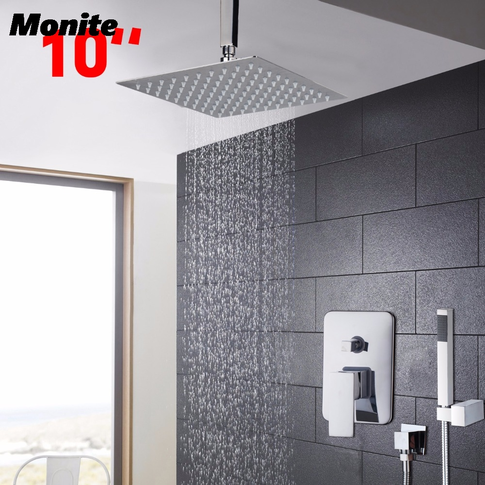 10 Bathroom Shower Set  Bath Shower Mixer Faucet Ceiling Rainfall Shower Head + Stainless Steel Hand Shower gappo classic chrome bathroom shower faucet bath faucet mixer tap with hand shower head set wall mounted g3260