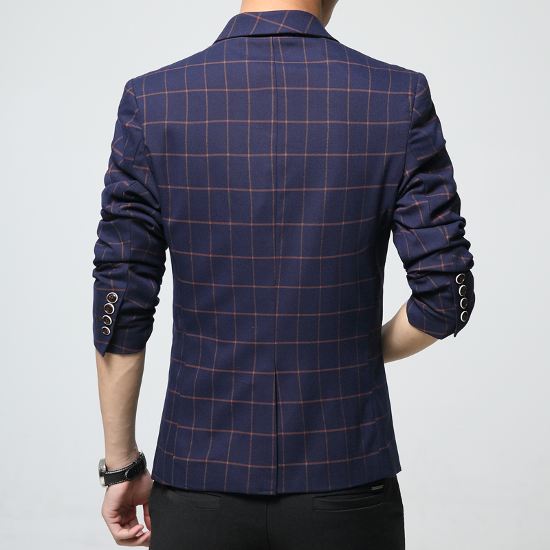 Mężczyzna plaid blezer bawełna mieszane casual płaszcz slim fit - Odzież męska - Zdjęcie 2
