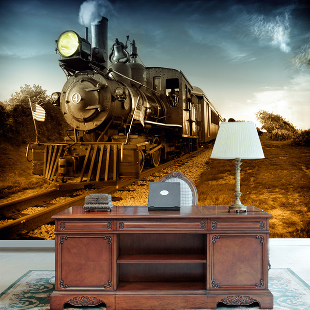 Wallpapers Of Trains: Mural Personalized 3D Wallpaper Tv Background Wall Vintage