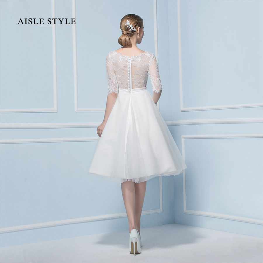 Vintage Short Wedding Dresses Half Sleeves A line Knee Length Lace ...
