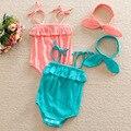 Macacão de Recém-nascidos de verão 2016 Bonito Da Criança Da Menina Do Bebê Rompers + Headband Outfits Roupa 0-24 M Jumpers