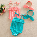 summer Newborn Rompers 2016 Cute Toddler Baby Girl Rompers + Headband Outfits Clothes 0-24M Jumpers