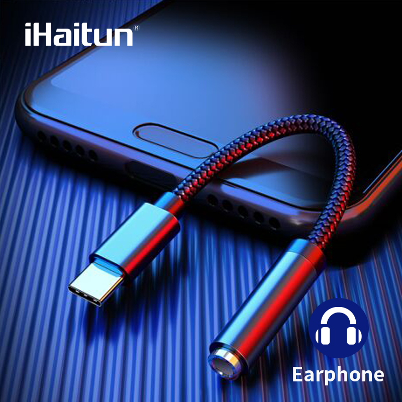 IHaitun Smart USB Type C To 3.5mm AUX Adapter For Earphone USBC Type-C Audio Headphone Jack Headsets Splitter For Samsung Xiaomi