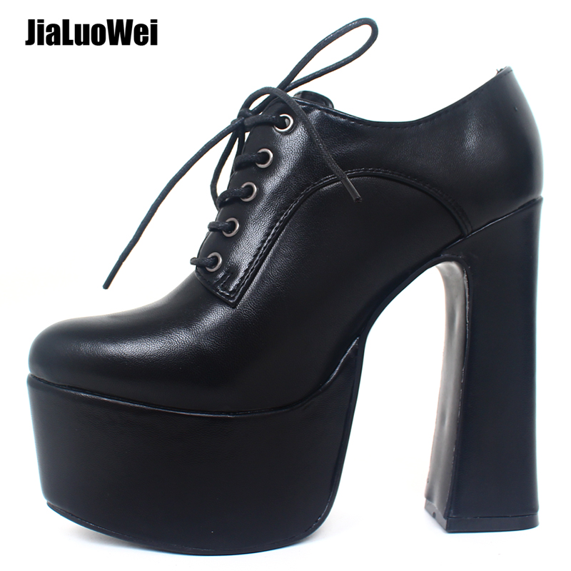 jialuowei Ladies Excessive Heel Platform Pumps 2019 Spring 15cm Excessive Block Heel Punk Sneakers Lace-Up Attractive Pointed Toe Sneakers Measurement 36-46 Ladies's Pumps, Low cost Ladies's Pumps, jialuowei Ladies...