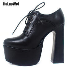 Купить с кэшбэком jialuowei Women High Heel Platform Pumps 2019 Spring 15cm High Block Heel Punk Shoes Lace-Up Sexy Pointed Toe Shoes Size 36-46
