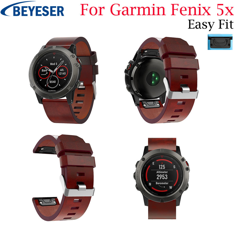 Watchband Leather Strap for Garmin Fenix 5X 5X Plus Watch Quick Release Easyfit Wrist Band Strap For Garmin Fenix 3 Fenix 3 HR
