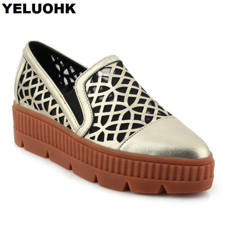 2018 New Genuine Leather Women Shoes Flats Fashion Breathable Platform Shoes Woman Slip On Creepers Casual Shoes Women minika women shoes summer flats breathable lace loafers platform wedges lose weight creepers platform slip on shoes woman cd41