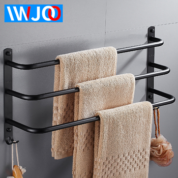 IWJOO Bathroom Towel Rack Wall-mounted Black Toilet Stainless Steel Towel Bar with Hook Bathroom Accessories