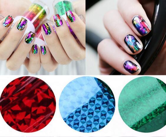 New Transfer Foil Nail Art Star Glitter Design Stickers For Nails