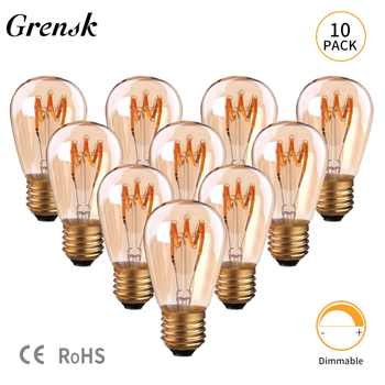 Grensk S14 Vintage Light Bulbs Led Spiral Globe Glass E27 Led Amber Dimmable 2200K Decorative Light 30W Equivalent Lamp Ampoule - DISCOUNT ITEM  40% OFF All Category