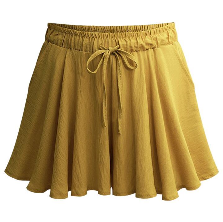 Hxyz Summer Loose Casual Wide Leg Pants Female Plus Size M 5XL 6XL Shorts Skirts Elastic Waist High Waist Short Pants For Women