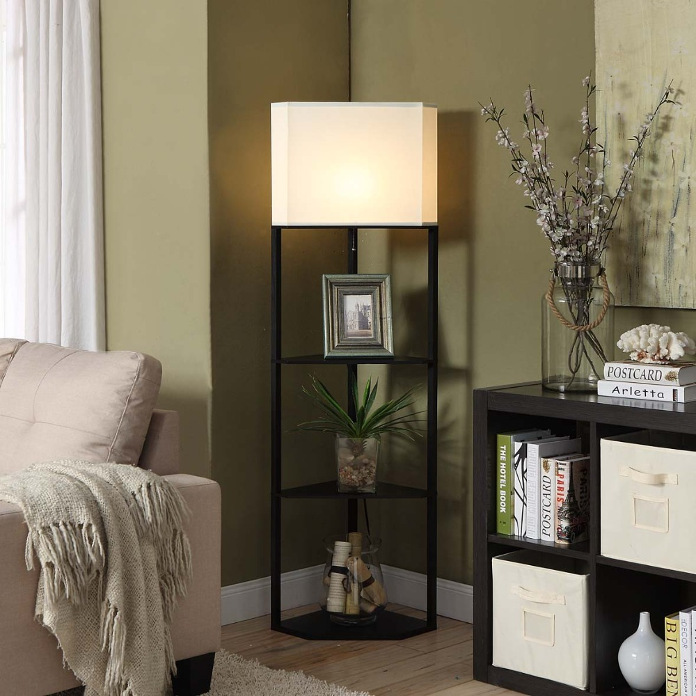 itm floor display lamp shelves shelf led standing black about modern open details with