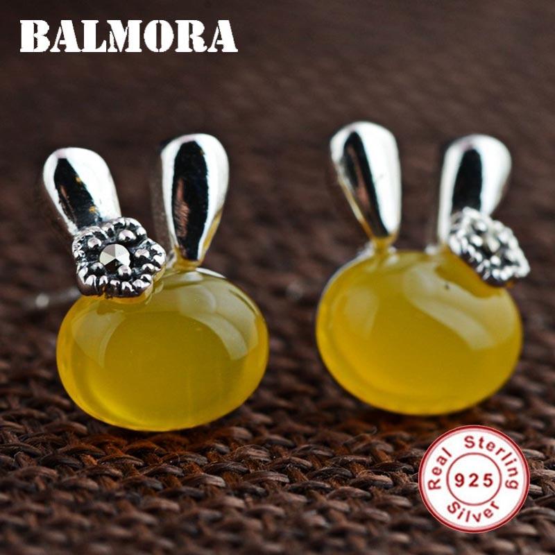 BALMORA 100% Real 925 Sterling Silver Cute Rabbit Stud Earrings for Women Girl Gift Animal Earrings Jewelry Brincos MN30551