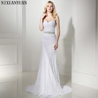 Pleat Bridal Wedding Gown Real Photos White Lace Cheap Mermaid Wedding Dress 2016 Vintage Sash Bride
