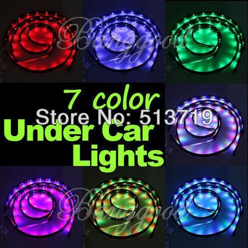 wholesale 7 Color LED Under Car Glow Underbody System Neon Lights Kit 36 x 2 & 24 x 2 car styling 7 color led strip under car tube underglow underbody system neon lights kit ma8 levert dropship