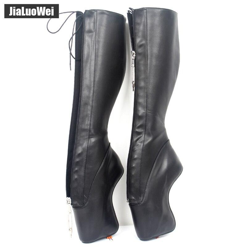 jialuowei 7 Super High Heel Ballet Boots Hoof Heelless Heels Stiletto Pointe Punk Goth YKK Lockable Zipper Sexy Fetish Boots