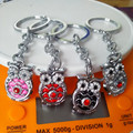 Fashion  Personality Owl Key Chain Zinc Alloy Not Fading Key Ring Flash Bright Metal Keychain Hot  Selling!